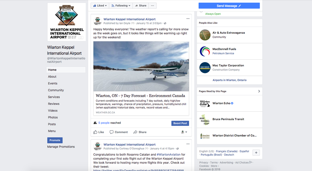 Airport Facebook page